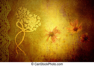 background wild flowers in vintage fabric texture -...