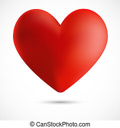 Big red heart isolated on white background, vector...