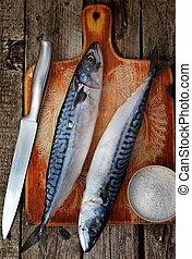 mackerel -  raw mackerel,salt and knife