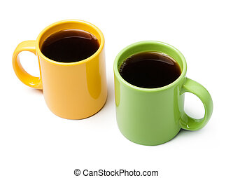 Two coffee mugs on white background