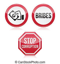 No bribes, sto corruption red sign - Attention vector sign...