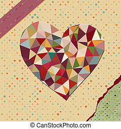 Heart made from triangles on polka dot - Retro heart made...