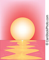 Pink Sunset - A pink sunset over water with ripples and a...