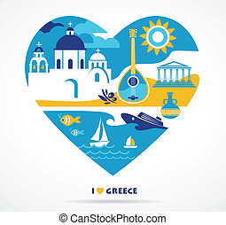 Greece love - Greece - heart with many icons