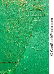 Wooden boards painted in green