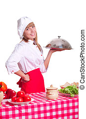 woman chef with dish - Attractive cook woman a over white...