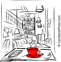 Cup of coffee on the table in cafe - This file is EPS10...