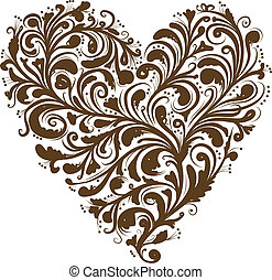 Floral ornament, heart shape for your design