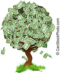 Money Tree - A conceptual illustration of a tree growing...