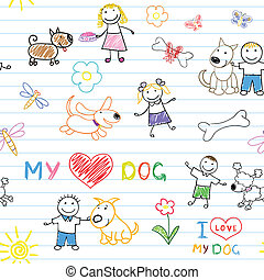 Childrens and dogs Seamless background