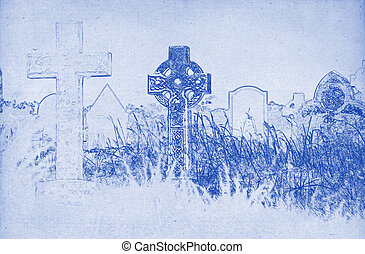 Drawing of a celtic cross on a graveyard - Grungy technical...