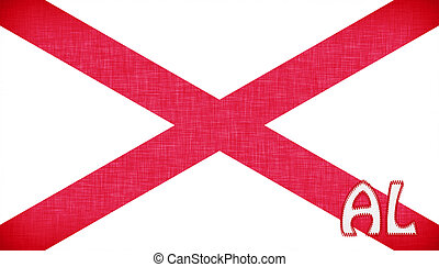 Linen flag of the US state of Alabama with it's abbreviation...