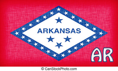 Linen flag of the US state of Arkansas with it's...
