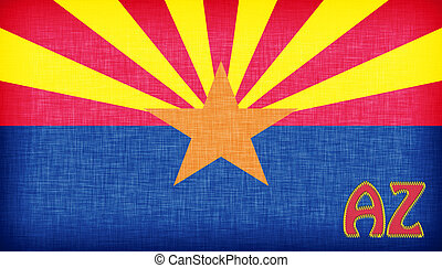 Linen flag of the US state of Arizona with its abbreviation...