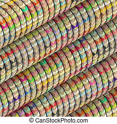 3d color pencil composition on roll wave shape