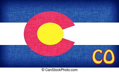 Linen flag of the US state of Colorado with its abbreviation...