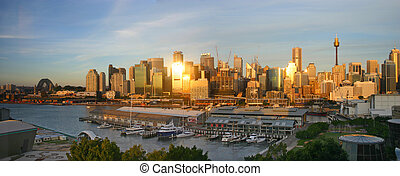 Sydney skyline at sunset - The golden sunset reflect off the...