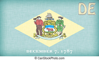 Linen flag of the US state of Delaware with its abbreviation...