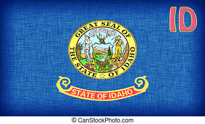Linen flag of the US state of Idaho with its abbreviation...