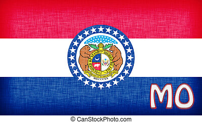 Linen flag of the US state of Missouri with its abbreviation...