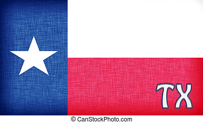 Linen flag of the US state of Texas with its abbreviation...