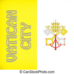 Linen flag of Vatican City with letters stitched on it