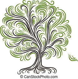 Abstract tree with roots for your design