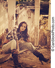Cowgirl. Vintage styled female portrait