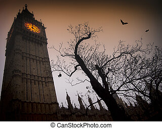 Spooky Big Ben with bats - The spooky clock tower of...