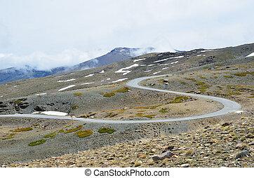 Serpentine road in the spring Sierra Nevada