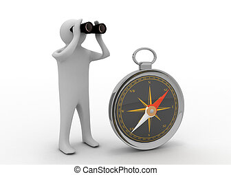 3d man with compass