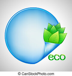 Eco background with green leaves and paper - Eco background...