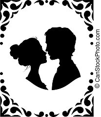 Silhouettes of loving couple - Black and white silhouettes...