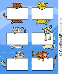 cartoon cats with board or card set - Cartoon Illustration...