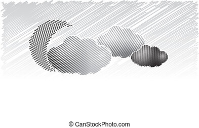 Vintage sky with the moon and clouds. Vector illustration in...