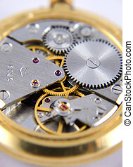 Clockwork background - Macro photograph of a watch mechanism