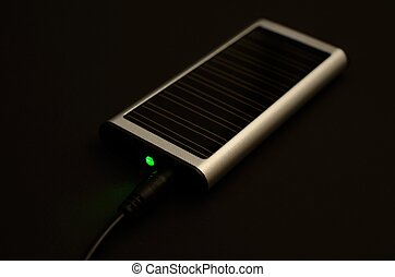 Solar charger with jack and green LED