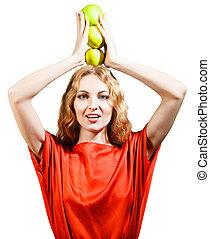 女, 彼女, りんご, 保有物, 手, 赤