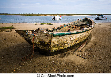 Small fishing boat at Cabanas de Tavira, Portugal