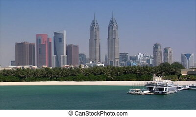 dubai skyline from palm - DUBAI - SEPTEMBER 10: A Dubai...
