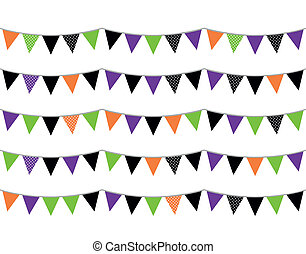 Halloween flags or bunting isolated on white