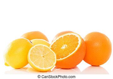 oranges and lemons on white background
