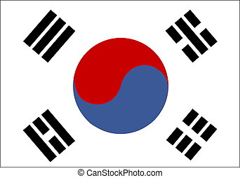 Flag of South Korea, national country symbol illustration