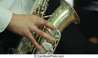 Hands play wind instrument