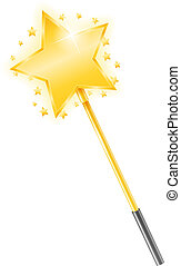 Magic Wand - Golden magic wand with stars, vector eps10...