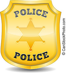 Golden police badge, vector eps10 illustration