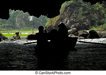 View from a cave. Tam Coc, Vietnam - View from inside of a...