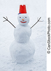 snowman with red cap close up
