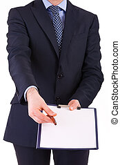 Businessman with pen and clipboard.