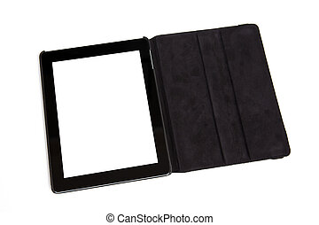tablet in black carrying case - tablet with isolated screen...